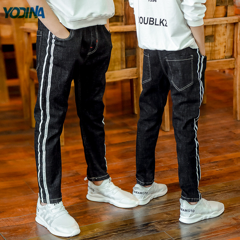 YODINA Kids Clothing High Quality Boys Jeans Track Pants Children Denim Trousers Boy Teenagers Elastic Waist Pants Full Length cocoepps casual denim ankle length trousers large size high waist fashion women s jeans 2017 women stretch pencil pants 5xl 6xl