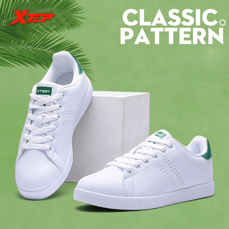 XTEP 2017 women s men s Skateboard font b Shoes b font Sneakers Leather walking white
