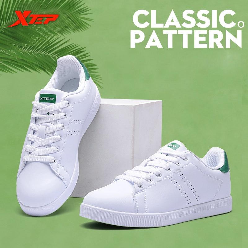 Xtep 2017 женские и мужские Скейтборд обувь кроссовки кожаные ходить белый Стэн обувь для мужчин и женщин Бесплатная доставка 985318315290