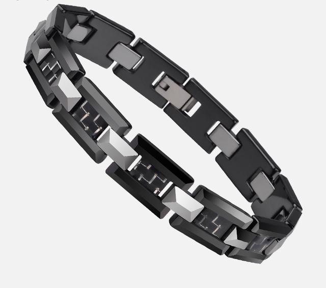 Black Ceramic Bracelet with Carbon Fiber
