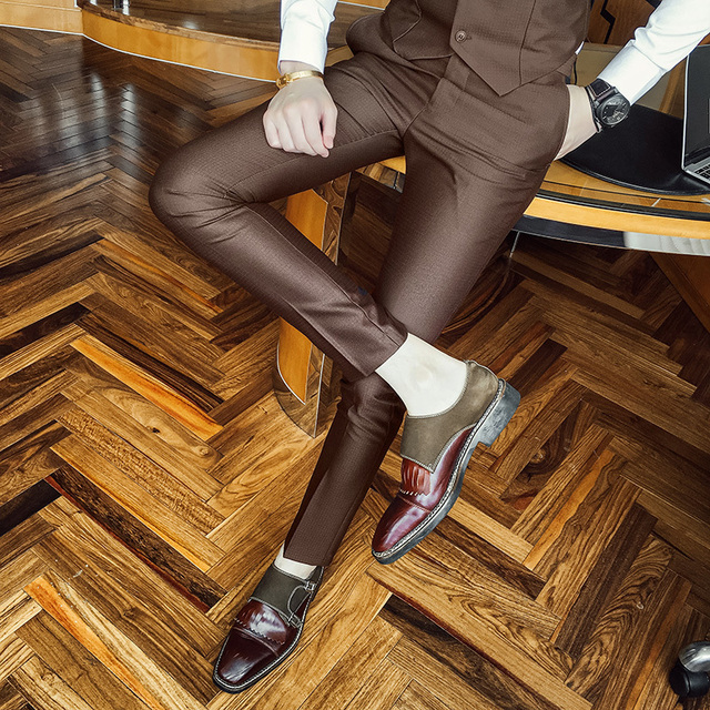 b13917ff5 Mens Dress Pants 2017 New Coffee Black Skinny Fit Calcas Masculina Pants  Men For Office Suit Pants Men Costume Mariage Homme