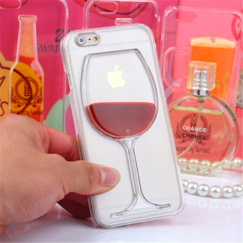Hot Dynamic Liquid Red Wine Clear Transparent Capa Plastic font b Phone b font Cases font
