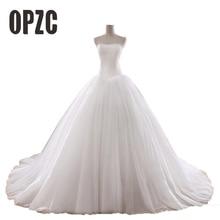 Gorąca sprzedaż 0.8M sąd pociąg suknia ślubna 2020 tanie Celebrity bez ramiączek Vintage Tulle suknia ślubna Organza koronkowa suknia ślubna