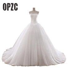 Hot Koop 0.8M Hof Trein Trouwjurk 2020 Goedkope Celebrity Strapless Vintage Tulle Bridal Baljurk Organza Lace Bridal jurk
