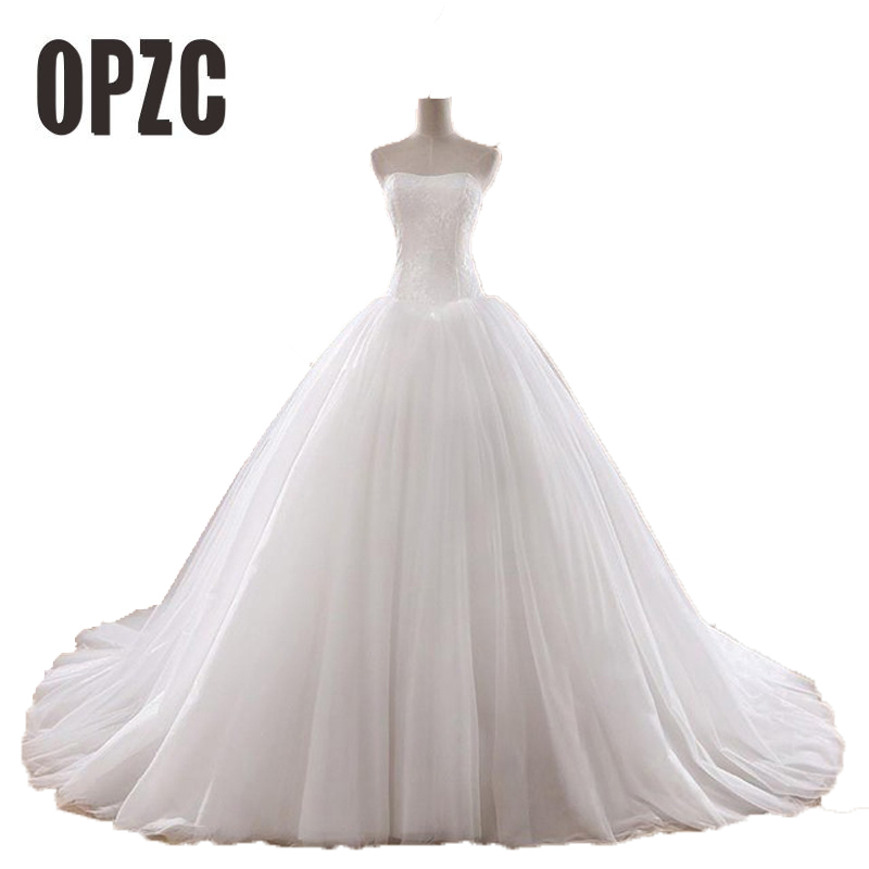 Hot Sale 0.8M Court Train Wedding Dress 2020 Cheap Celebrity Strapless Vintage Tulle Bridal Ball Gown Organza Lace Bridal Dress