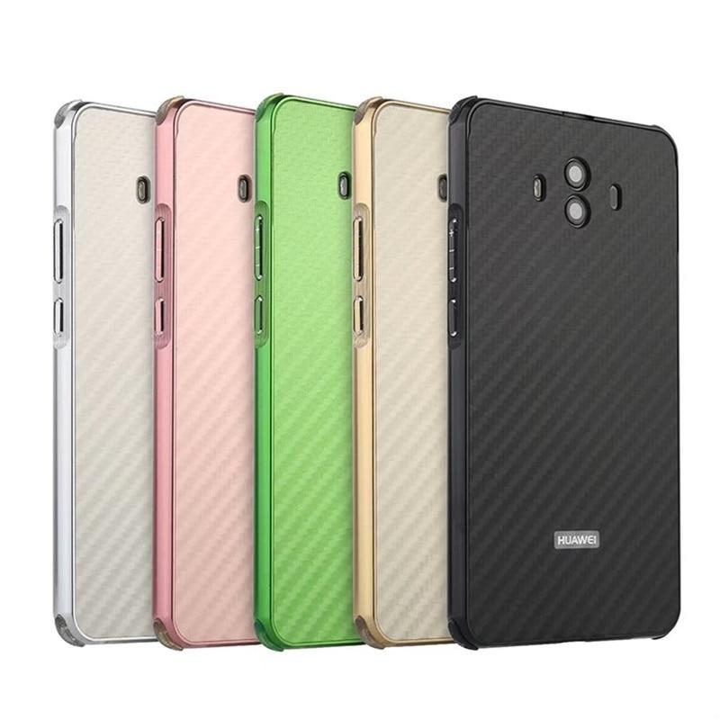 Para Huawei Companheiro 10 Caso Metal Frame de Alumínio + Fibra De Carbono Rígido Caso Tampa traseira para Huawei Companheiro Mate10 10 Telefone À Prova de Choque Shell