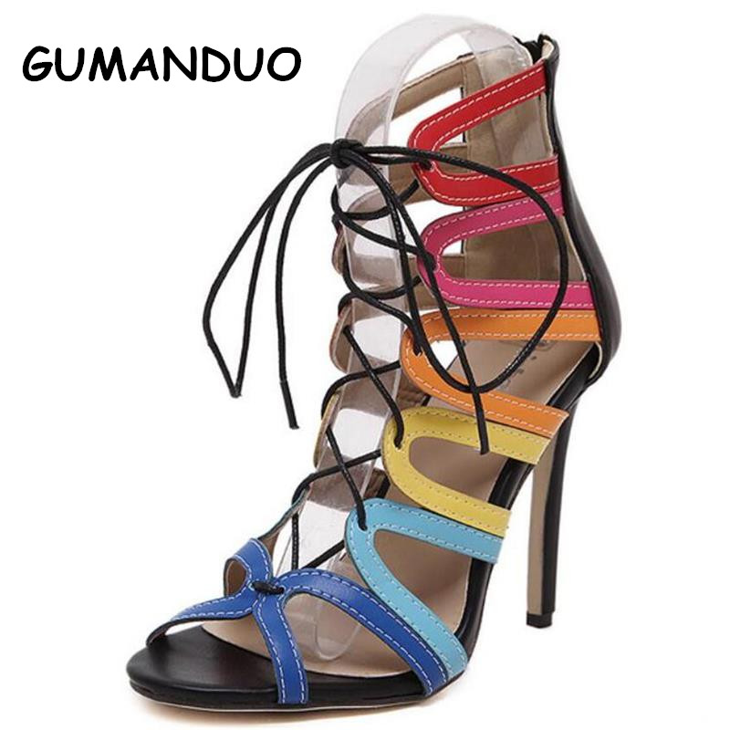 2016 New European and American Big Roman Sandals Pierced Cross Straps Fine With High-heeled Women Shoes Mixed Colors Sandals