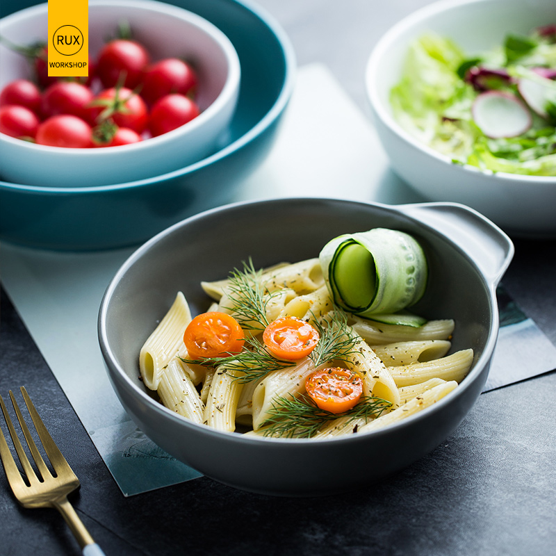 RUX WORKSHOP Nordic solid color ceramic bowl 6 options Plain salad Western soup Restaurant tableware decoration