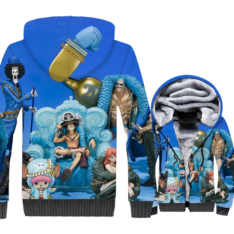 Japan Anime One Piece 3D Print Hoodie Men Luffy Sweatshirt Thick Fleece The Pirate King Coat Tony Chopper Franky Brook Jacket