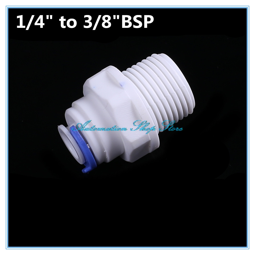 """1/4"""" OD Tube * 3/8 """" BSP Male Quick Connection Water Purifier Fittings Aquarium RO Water System"""