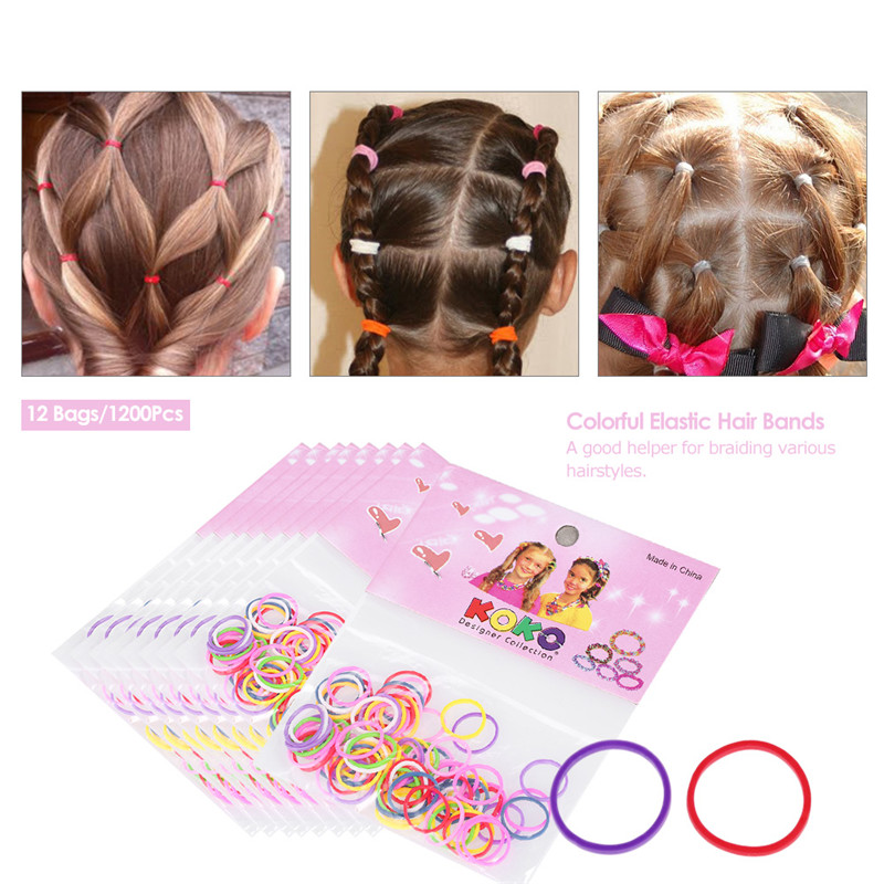 12 Bags / 1200Pcs Braided with Elastic Hair Band Ring Rope Disposable Rubber Belt Candy Hair Hair Accessories Ponytail New