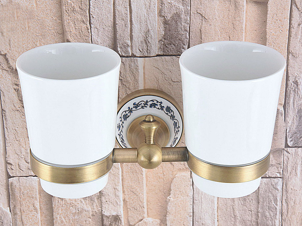 Wall Mounted Vintage Retro Antique Brass Bathroom Toothbrush Holder Set Bathroom Accessory Dual Ceramic Cup mba780