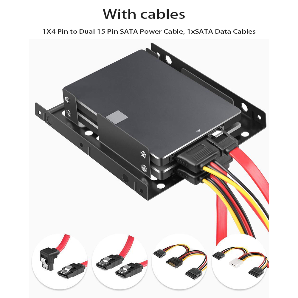 2 X 2.5 Inch SSD To 3.5 Inch Internal Hard Disk Drive Mounting Kit Bracket(SATA Data Cables And Power Cables Included)