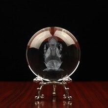 קריסטל בודהה פסלי 3d חריטת כדור עם פיל אלוהים פיסול בית תפאורה גנש קמע קישוט