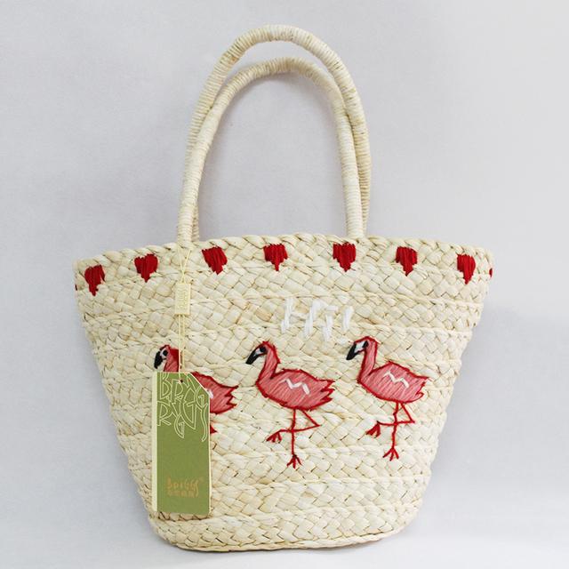 BRIGGS New 2016 Summer Casual Straw Beach Bag Fashion Animal Prints Woman Straw Bags Women's Handbag Top-handle Bucket Bag