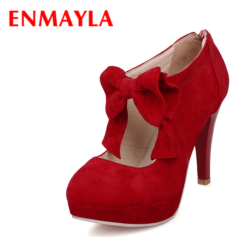 ENMAYLA Spring Flock High Heels Shoes Woman Bowtie Platform Ladies Shoes Women Round Toe Red Black Pumps Thin Heels Shoes Female women elegant black blue red suede silk bowtie round toe platform 3 inch high heel deep single shoes ladies pumps for woman