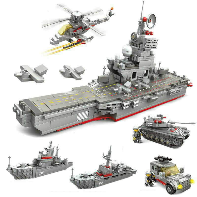 861pcs DIY figures Bricks Compatible city Military series Aircraft and carrier Children s educational building blocks
