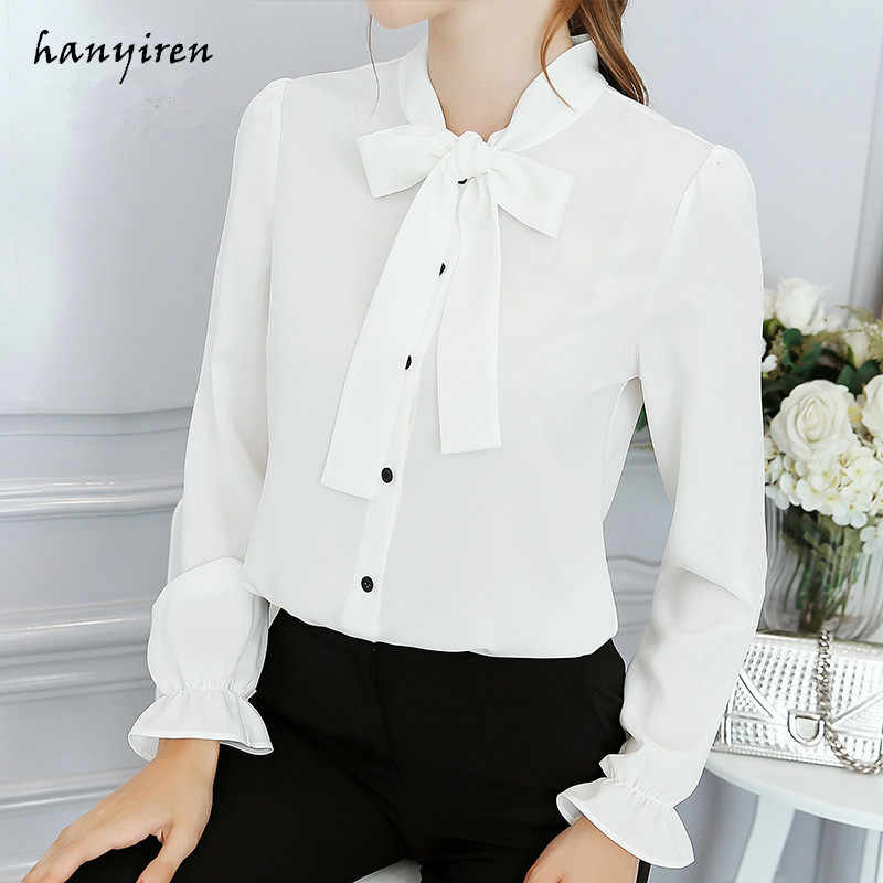 b3b51a40a8c48 Hanyiren Long Sleeve Blue Blouse Chiffon Bow Tie Flare Shirt Office Lady  Wear White Solid Button