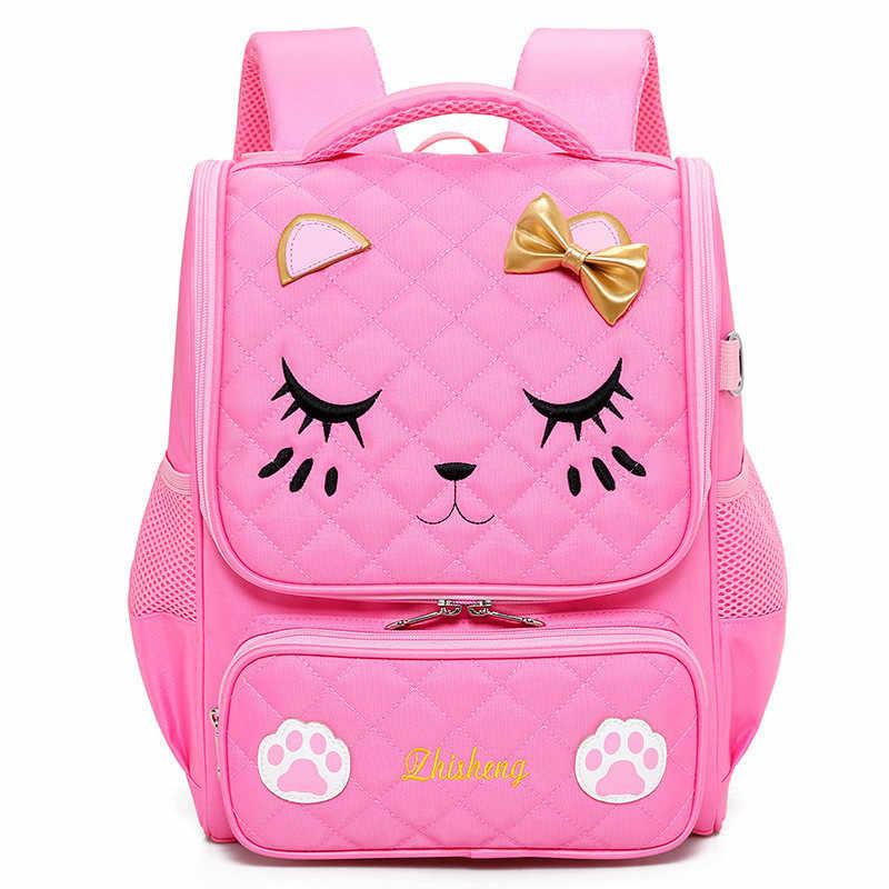 Ортопедический школьный портфель для девочек мультфильм школьные сумки детские рюкзаки водонепроницаемый нейлоновый, с принтом рюкзак для книг Mochilas