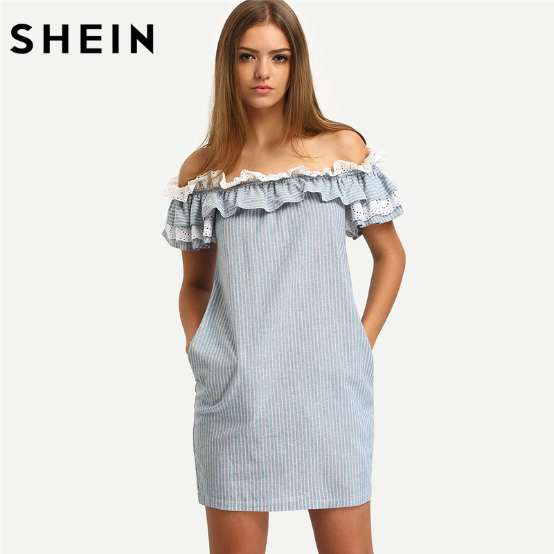 SHEIN New Woman Dress 2016 Summer Fashion Blue Off The Shoulder Flounce Striped Pockets Casual Straight Mini Dresses