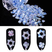 Manicure Shiny Nail Flakes 1g/Box Mermaid Jade Nail Glitter Diamonds Nail Sequins Colorful Emerald Color Pentagon Paillette(China)