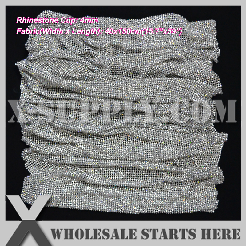 P2 4mm(40x150cm) Metal Rhinestone Fabric Mesh Without Iron On Glue in SILVER Base,Use For Table,Furniture,Bridal Evening Dress