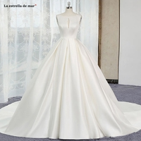 Robe de mariage 2019 new satin O Neck Back open A Line ivory simple wedding dress long trailing plus size bride gown cheap