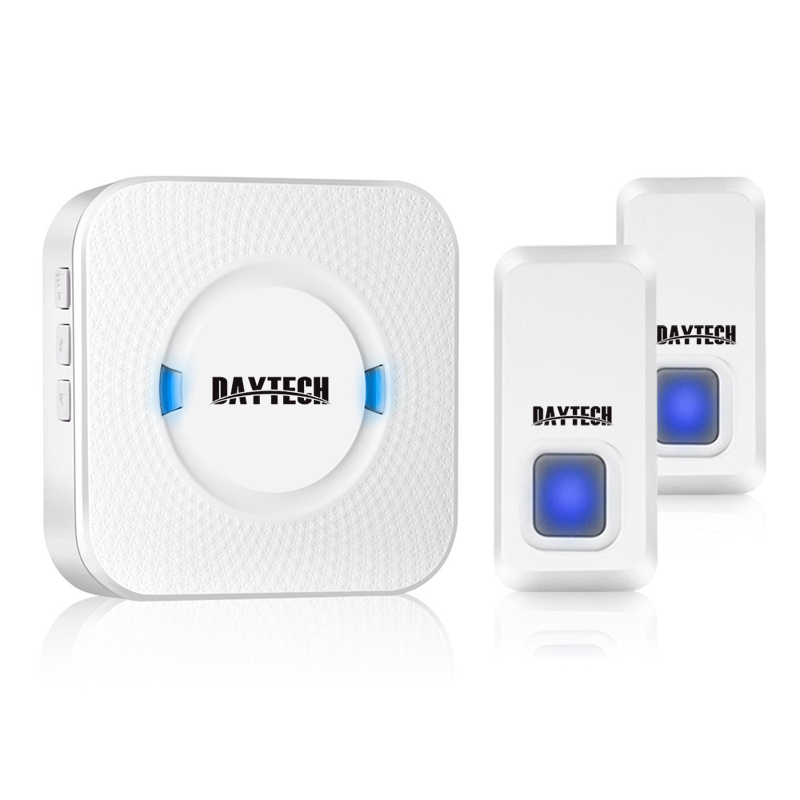 DAYTECH Door Bell Wireless Waterproof Doorbell with 55 Ring Chime Kit IP55 1 Plug-in Receiver 2 transmitter Buttons door bell with 36 chimes single receiver waterproof plug in type wireless doorbell cordless smart door bells doorbells