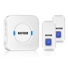 DAYTECH Door Bell Wireless Waterproof Doorbell with 55 Ring Chime Kit IP55 1 Plug-in Receiver 2 transmitter Buttons