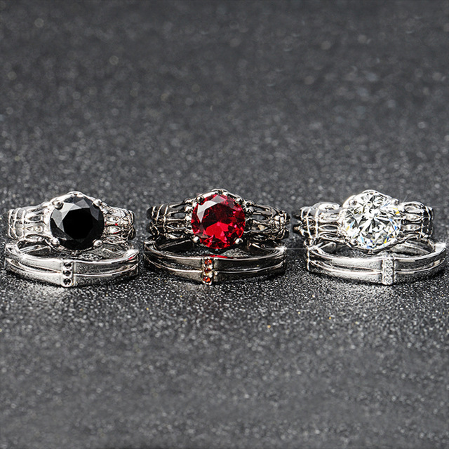 Vintage Skull red CZ Stone black Ring Set for Women Jewelry  Wedding Gift 3