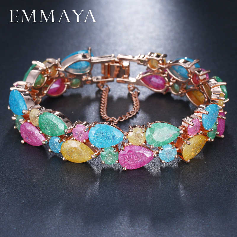 EMMAYA Trendy Charm CZ Gelang Rose Gold warna Mona Lisa Bangle Colorful Cinta Persahabatan Gelang untuk Wanita Perhiasan