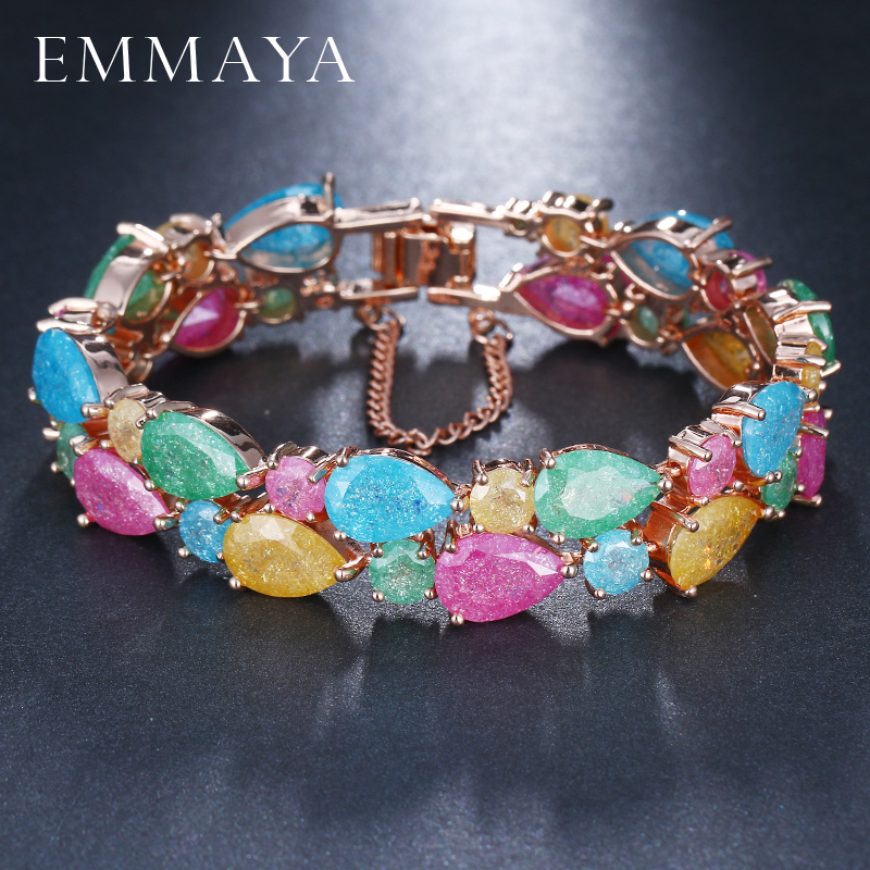 EMMAYA Trendy Charm CZ Bracelet Rose Gold color Mona Lisa Bangle Colorful Love Friendship Bracelets for Women Jewelry classic big heavy two tone style gold color mens bangle friendship bracelets