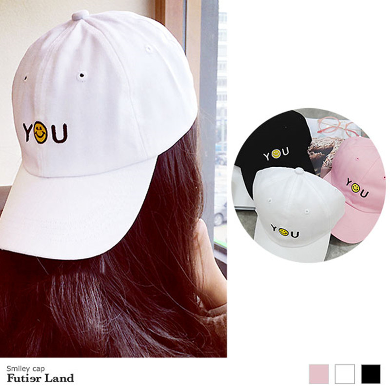 19 kinds of selection Smiley cap Letter embroidery Baseball Cap Women cute hat  Men Sun Hats