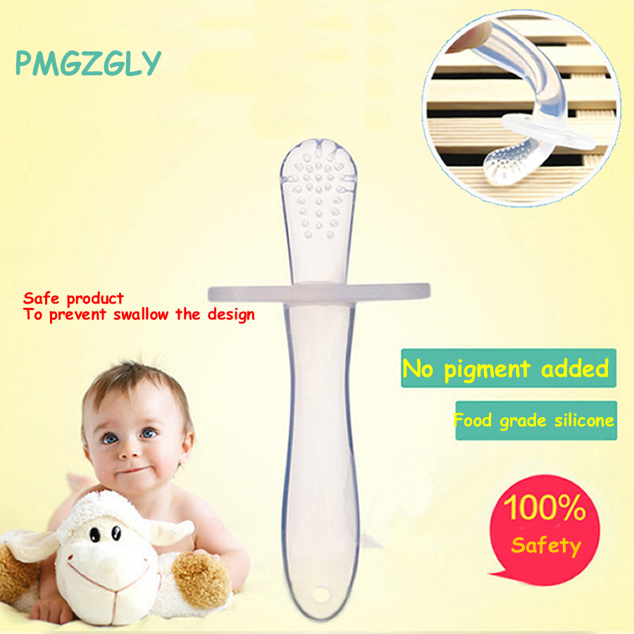 Safe Silica gel Teething Environmentally Toothbrush infant baby teether stick chews Silicone Toothbrush Teether Deciduous Tooth