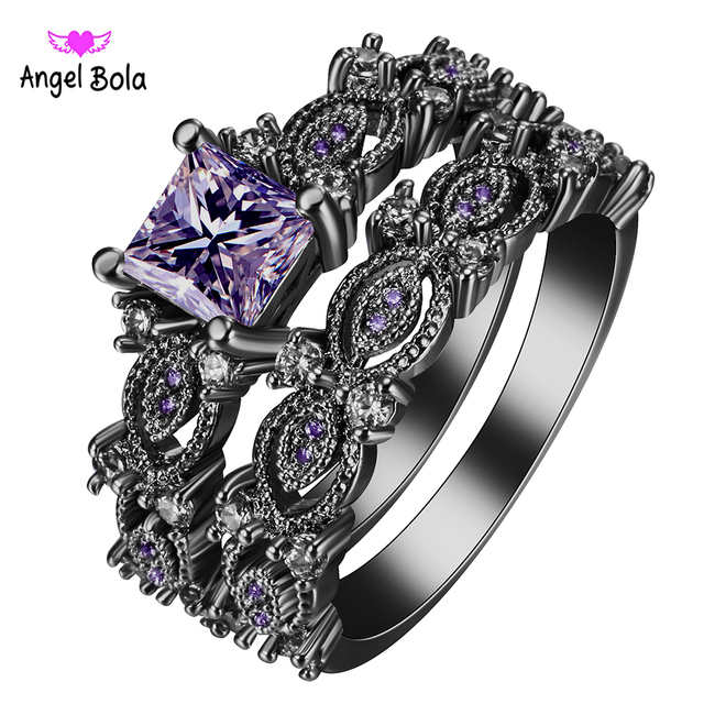 2017 black ring sets hot black gun color zircon pink purple fashion lady finger rings new - Black And Pink Wedding Ring Sets