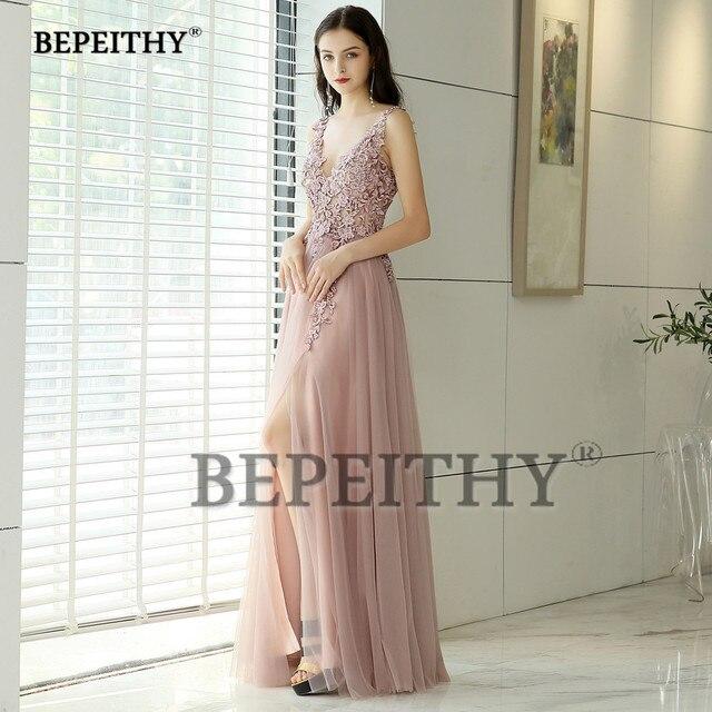 New Arrival 2019 V neck Pink Long Evening Dress Party Elegant Vestido De Festa Vintage Prom Gowns With Slit  Abendkleider 2