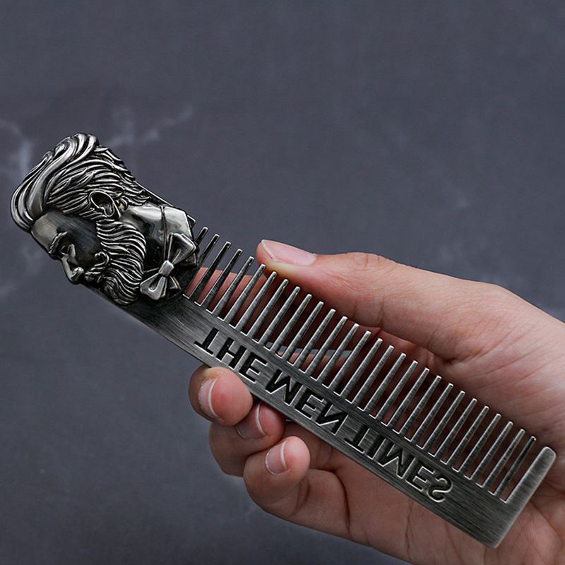 High Quality Cool Men Beard Shaping Template Stainless Steel Beard Comb Men Hair Beard Trim Tool