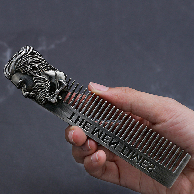 High Quality Cool Men Beard Shaping Template Stainless Steel Beard Comb Men Hair Beard Trim Tool