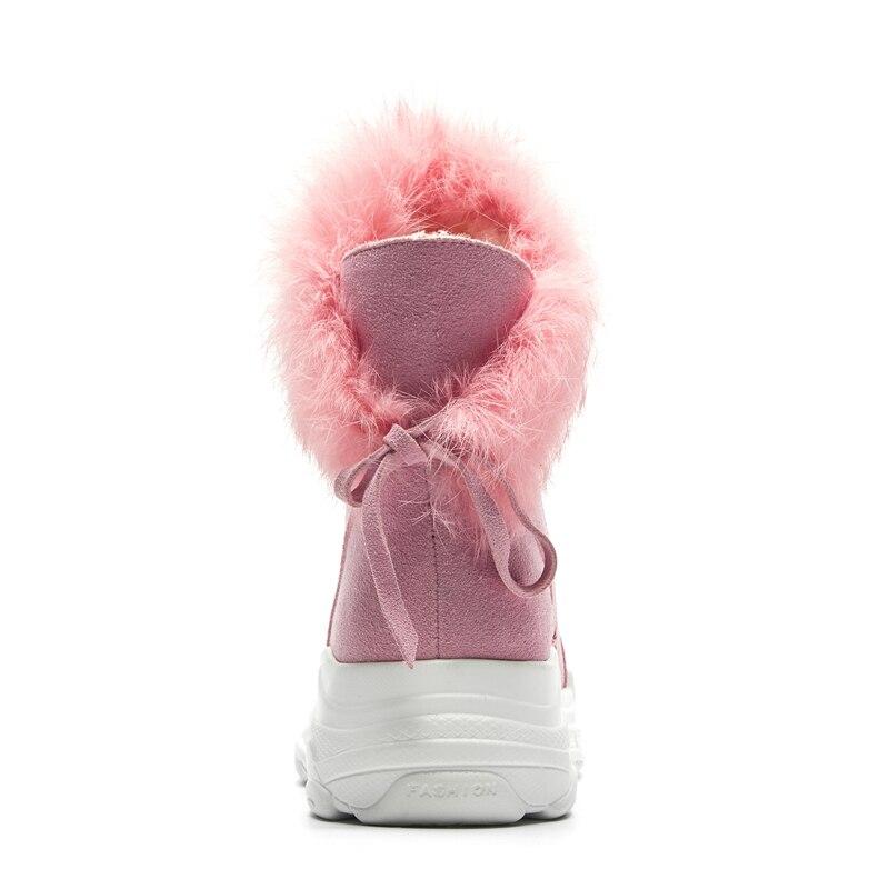 Negro Rusia Tobillo Nieve Mujer De Zapatos Invierno Marca Piel Plataforma Cálida Cuero Botas Vaca Calzado marrón Doratasia Gamuza rosado Dropship STZq8C
