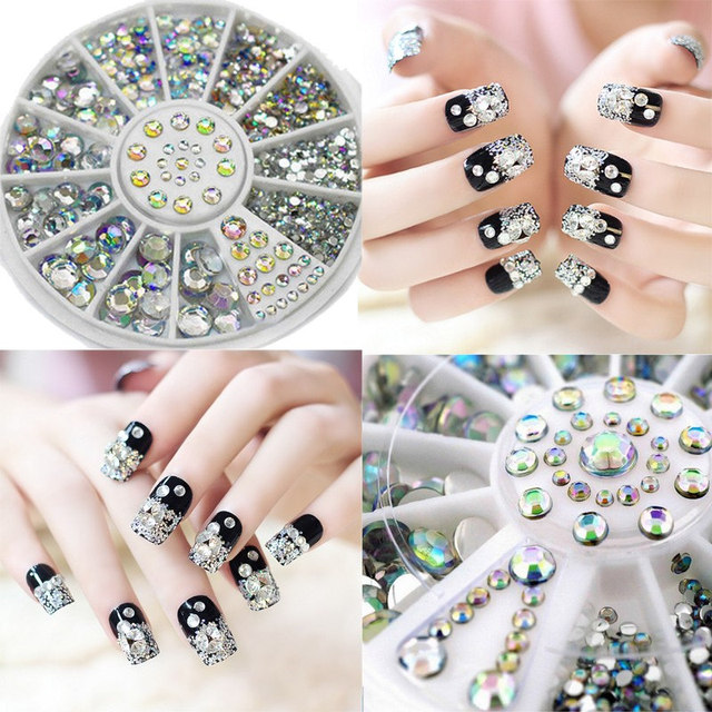 1pcs Japanese wheel nail art colorful AB acrylic rhinestone mix ...