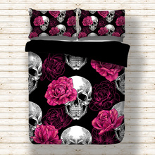 Parure de lit noire avec housse de couette, crâne, Rose, drap de lit double, Queen Size et King Size, 3 pièces