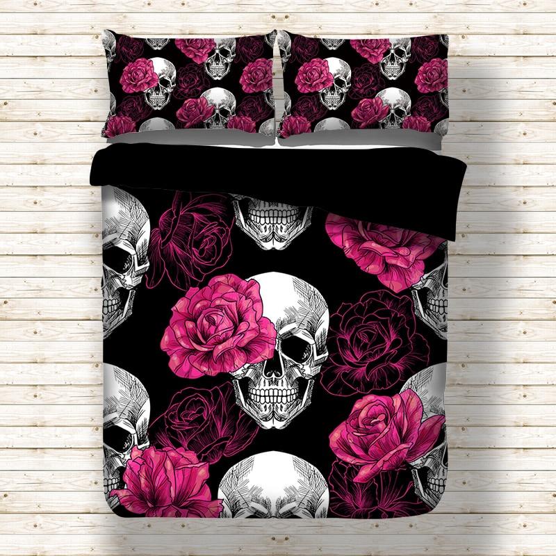 Rosa cráneo negro Juego de cama edredón hoja de cama doble reina completa tamaño king 3 unids