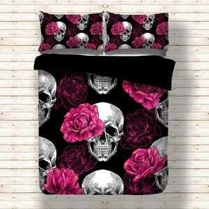 Image 1 - Rose Skull Black Duvet Cover Bedding Set Bed Sheet Twin Full Queen King Size 3PCS