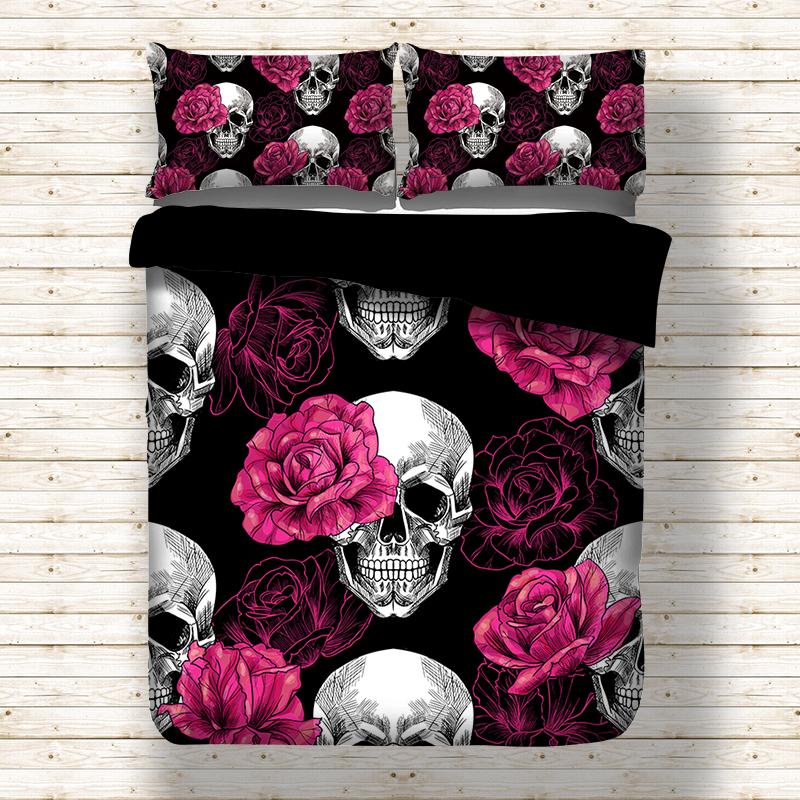 Rose Skull Black Duvet Cover Bedding Set Bed Sheet Twin Full Queen King Size 3PCS