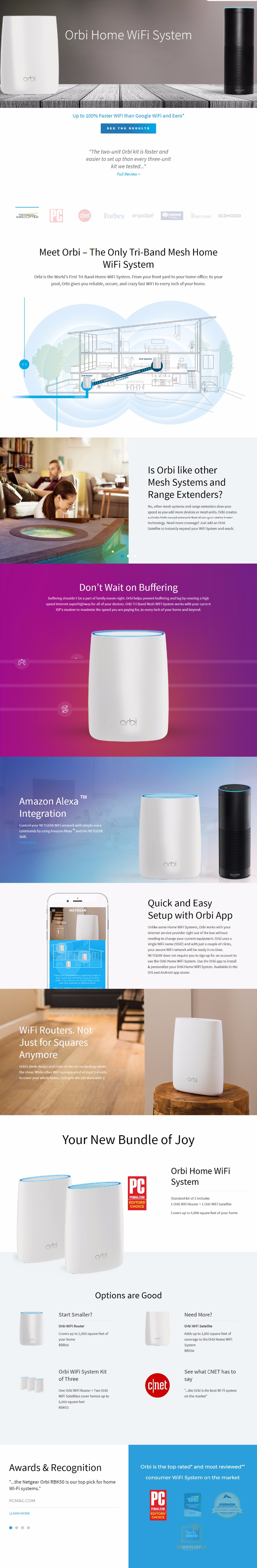 NETGEAR Orbi Home WiFi Router System AC3000(1733+866+400Mbp