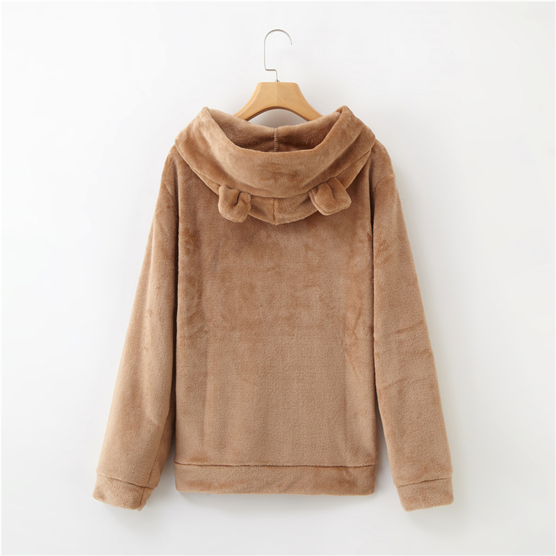Women's Flannel Hoodies Sweatshirts Lovely With Bears Ears Solid Warm Hoodie Autumn Winter Casual Campus Pullovers Coat 14