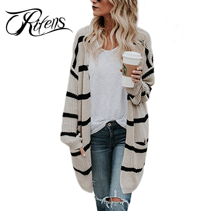 Urifens Casaco Feminin 2018 New Korean Autumn Striped Retro Long Cardigan Women Casual Big Pocket Plus Size Knit Sweater LMK04
