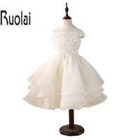 Custom Made New Lovely Ball Gown Lace Applique Beading Cap Sleeves Flower Girl Dresses For Wedding