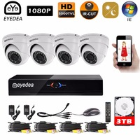 Eyedea DVR 8CH Video Recorder 1080P 2 0MP White Dome 5500TVL Indoor CMOS 36 LED Security