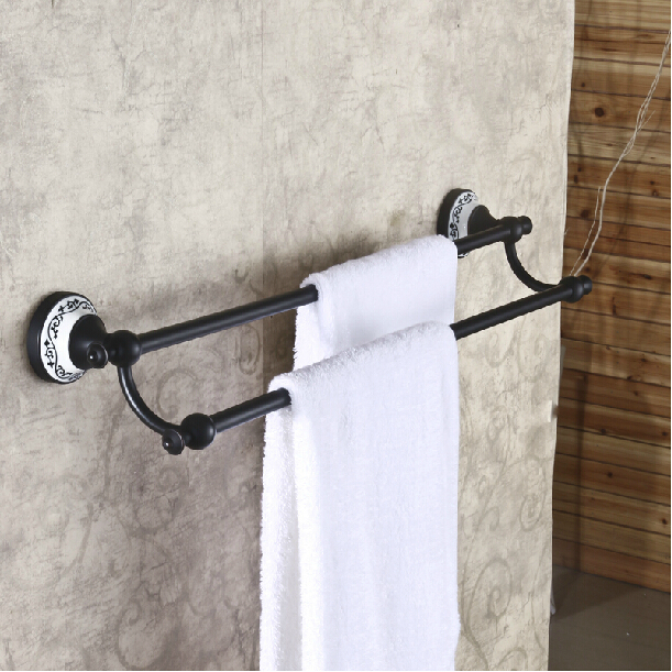 Bathroom Wall Mounted Towel Bars Brass Double Towel Shelf Oil Rubbed Bronze In Towel Bars From
